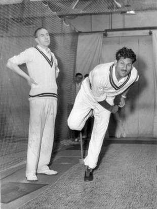 Khan Mohammad bowls at the MCC's indoor coaching school