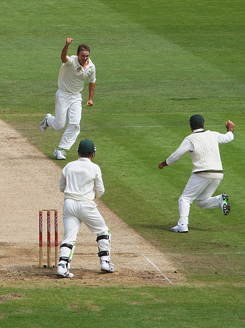 Nathan Hauritz pumps his fist after dismissing Matt Prior