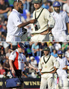 Ricky Ponting is not amused as England's 12th man, Bilal Shafayat and their physio interrupt play during the final moments of the first Test, England v Australia, 1st Test, Cardiff, 5th day, July 12, 2009