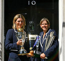 Charlotte Edwards and Nicky Shaw pose outside 10 Downing Street, London, July 14, 2009