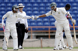 Mushfiqur Rahim and Mahmudullah enjoy their partnership, West Indies v Bangladesh, 2nd Test, Grenada, 2nd day, July 18, 2009