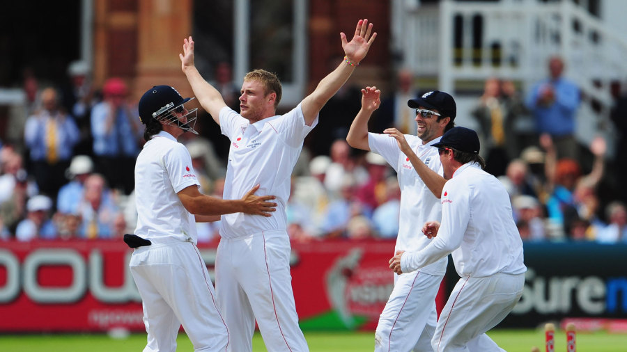 Andrew Flintoff takes the plaudits after removing Nathan Hauritz