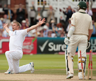 Andrew Flintoff bowled with hostility and fire to take 5 for 92 in his final Lord's Test, as England took a 1-0 lead in the Ashes