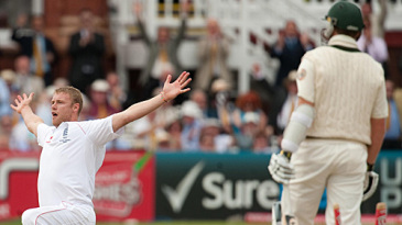 Andrew Flintoff celebrates his five-wicket haul in his last appearance in a Test at Lord's