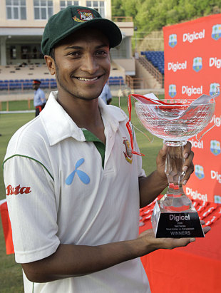 Shakib Al Hasan poses with the series trophy, West Indies v Bangladesh, 2nd Test, 4th day, Grenada, July 20, 2009
