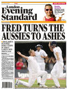 The <I>Evening Standard</I> celebrates England's win, England v Australia, 2nd Test, Lord's, July 20, 2009