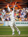 David Wigley, arms aloft, celebrates the wicket of Phillip Hughes, Northamptonshire v Australians, Northampton, July 24, 2009