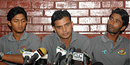 Sahgir Hossain, Mashrafe Mortaza and Shahadat Hossain speak to the media after their return to Bangladesh