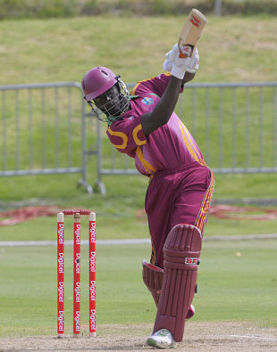Andre Fletcher hits one down the ground, West Indies v Bangladesh, 3rd ODI, Basseterre, July 31, 2009
