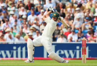 Marcus North blasts one through the off side, England v Australia, 4th Test, Headingley, 2nd day, August 8, 2009