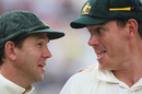 Ricky Ponting and Marcus North share a joke during the presentation ceremony, England v Australia, 4th Test, Headingley, 3rd day, August 9, 2009
