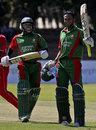 Shakib Al Hasan raises the bat after scoring his third one-day century, Zimbabwe v Bangladesh, 2nd ODI, Bulawayo, August 11, 2009