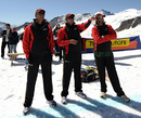 Aunshuman Gaekwad, Ajay Jadeja and Sandeep Patil assess the conditions, Interlaken, August 15, 2009