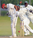 Sandeep Jyoti is clean bowled by Hiren Varaiya just before the close, Canada v Kenya, ICC Intercontinental Cup, King City, 3rd day, August 16, 2009
