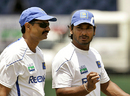 Kumar Sangakkara has a word with Brendon Kuruppu, Galle, August 17, 2009