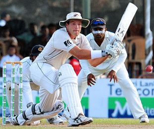 Tim McIntosh gets in position to sweep, Sri Lanka v New Zealand, 1st Test, Galle, 2nd day, August 19, 2009