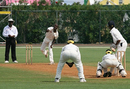 Akbar Baig bends his back, Bermuda v Uganda, ICC Intercontinental Cup, 3rd day, Mutare, August 19, 2009