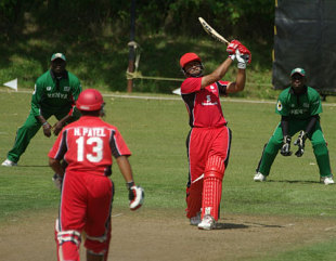 Rizwan Cheema lofts the ball on his way to an unbeaten 76, Canada v Kenya, 1st ODI, Toronto, August 19, 2009