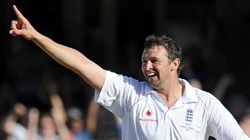 Steve Harmison is all smiles after his double strike