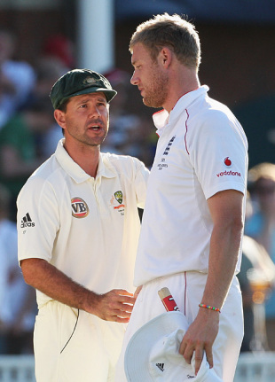 Ricky Ponting shakes hands with Andrew Flintoff in his final Test, England v Australia, 5th Test, The Oval, 4th day, August 23, 2009