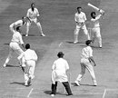 Bishan Bedi slogs Robin Hobbs, England v India, 1st Test, Headingley, 5th day, June 13, 1967