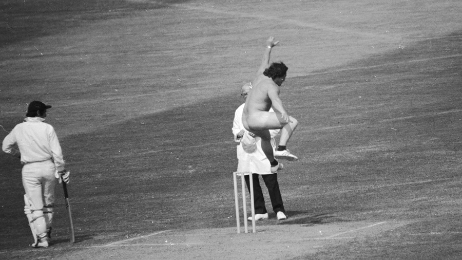 A streaker invades the pitch at Lord's