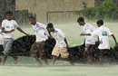 Groundsmen rush to get the covers in place, Sri Lanka v New Zealand, 2nd Test, SSC, 5th day, August 30, 2009