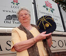 Audrey Statham with her late husband Brian's commemorative cap, Old Trafford, August 30, 2009