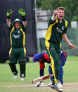 Blane Queripel successfully appeals for the wicket of  Imran Sajjad, Bahrain v Guernsey, ICC World Cricket League Division 6, Singapore, August 31, 2009