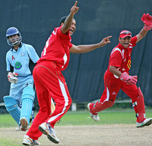 Singapore's Narender Reddy appeals for the wicket of Denzil Sequeira, Singapore v Botswana, ICC World Cricket League Division 6, Singapore, August 31, 2009
