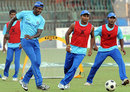 Angelo Mathews, Gihan Rupasinghe and Mahela Udawatte play football