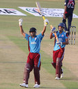 Avik Chaudhary raises the bat after reaching his century, Indian Revenue v Indian Tobacco Company, BCCI Corporate Trophy, Mohali, September 2, 2009