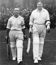 Jack Hobbs and Percy Chapman walk out to bat