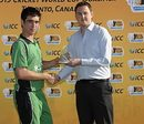 Andrew Balbirnie receives the Man-of-the-Match award, Ireland Under-19s v Afghanistan Under-19s, ICC Under-19 World Cup Qualifier, King City, September 3, 2009