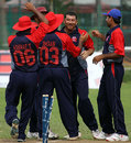 Halal Abbasi is congratulated for a wicket, Bahrain v Norway, ICC World Cricket League Division 6, Singapore, September 4, 2009