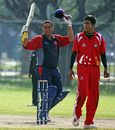 Tahir Dar celebrates his half-century, Bahrain v Singapore, ICC World Cricket League Division 6, Singapore, September 5, 2009