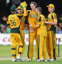 Nathan Bracken is congratulated on one of his two wickets, England v Australia, 2nd ODI, Lord's, September 6, 2009