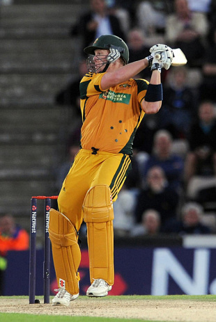 Cameron White flays to third man during his maiden ODI ton, England v Australia, 3rd ODI, Southampton, September 9, 2009