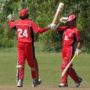 Usman Limbada (right) reaches his century, Canada U-19s v Vanuatu U-19s, ICC Under-19 World Cup Qualifier, King City, September 10, 2009