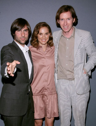 Jason Schwartzmann, Natalie Portman and Wes Anderson at the screening of <i>Hotel Chevalier</i>, Soho, New York, 25 September 2007