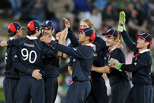 England celebrate their entry into the semi-finals