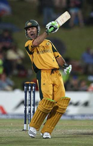 Ricky Ponting shows his emotion after reaching three figures, Australia v England, 1st semi-final, Champions Trophy, Centurion Park, October 2, 2009