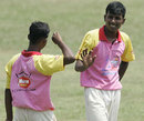 Rajeswar Nirujan gets the high fives after picking up a wicket, Jaffna Combine Schools v Richmond College, Glucofit Cricket Sixes, Colombo, October 18, 2009