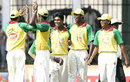 Kasun Fernando is congratulated after taking a hat-trick, Ananda College v St Sebastians College, Glucofit Cricket Sixes, Colombo, October 18, 2009