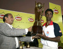 Dinal Dambarage with the winners' trophy, St. Joseph's College v St. Sebastians College, final, Glucofit Cricket Sixes, Colombo, October 18, 2009