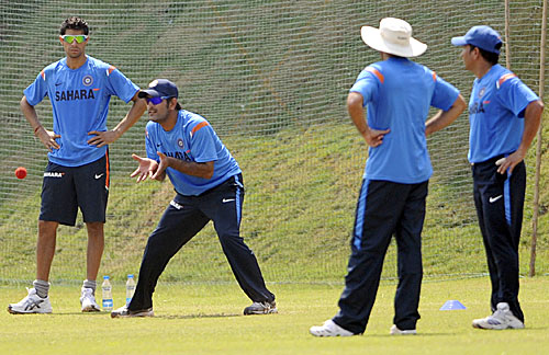 MS Dhoni takes part in a fielding drill