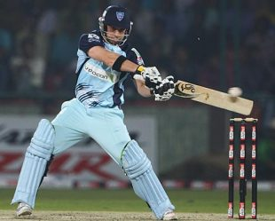 Phillip Hughes rocks back to cut, New South Wales v Victoria, 1st semi-final, Champions League, Delhi, October 21, 2009