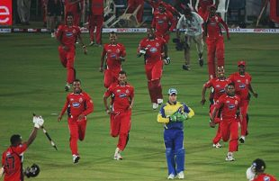 The Trinidad & Tobago players storm the field after the victory, Cobras v Trinidad & Tobago, Champions League, 2nd semi-final, October 22, 2009