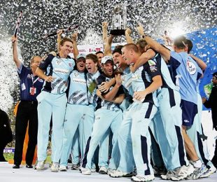 New South Wales celebrate their Champions League victory, New South Wales v Trinidad & Tobago, Champions League Twenty20 final, Hyderabad, October 23, 2009