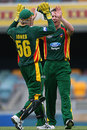 Brady Jones and Xavier Doherty celebrate a wicket, Queensland v Tasmania, FR Cup, Brisbane, October 30, 2009